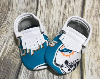 Miami Dolphins Baby Shoes Moccasins - Handmade Moccs // Baby Moccs // Football Moccasins // TEXAS MOCCS // Baby Moccasins