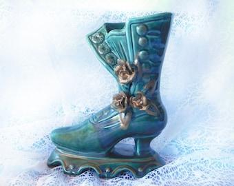 ceramic shoe planter - vintage Victorian shoe planter - Antique Porcelain shoe - green shoe - indoor shoe planter -Shabby Chic decor - # 76