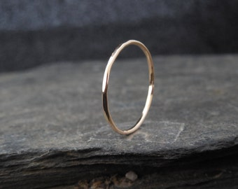 14k Gold filled ring (Rose or yellow), or Sterling Silver, thin ring, 1mm ring, made at your size. Skinny ring, thin ring, stacking ring.