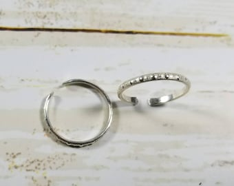 Sterling Silver Toe Ring-Dotted Silver