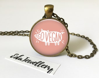 Pink Go Vegan Pendant, Veganism Necklace, Cruelty Free Jewellery