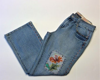 Vintage 1980's Baccini Patchwork, Studded and Embroidered Embellished Jeans - Size 10P