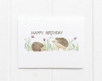 Hedgehogs Birthday Card / Birthday Card / Girls Birthday Card / Hedgehogs Card / Gifts for Her / Happy Birthday Card / Baby Hedgehog Card