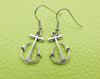 Anchor Earrings stainless steel,Anchor Earrings, Charm Earrings, Nautical Earrings, Ocean Earrings, Gifts for her