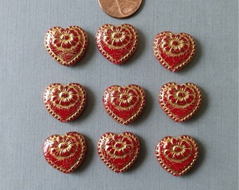 1 Czech Red Heart Glass Bead with Gold Etched Accents