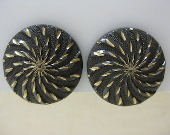 Brown with Gold Spiral - earrings