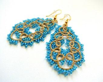 Chandelier tatting teardrop beaded earrings | tatted lace earrings | made in Italy  lace jewelry | frivolitè