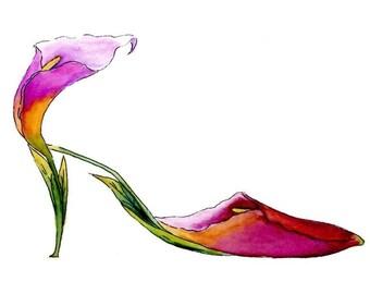 Calla Lily Stiletto Heel Shoe Archival Print