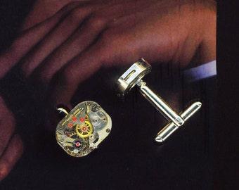 Steampunk Cuff links . Father's Day Swiss Jewel Cufflinks . Steampunk Vintage Watch Cuff Links  - Men's accessory  by enchantedbeas on Etsy