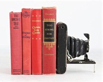 Vintage Books, Vintage Red Book Collection, Old Red Book Collection, Vintage Book Decor, Wedding Decor Centerpiece, Red Wedding Decor