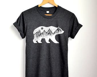 Bear Shirt Mountains Shirt Adventure hiking camping Shirt Clothing Women Unisex S M L XL
