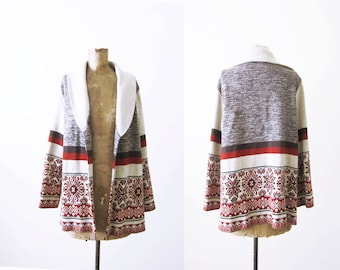 Boho Cardigan 70s Bohemian Cardigan Buttonless Cardigan Open Shawl Collar Cardigan The Dude Fairisle Sweater Vintage 1970s Sweater Fall M