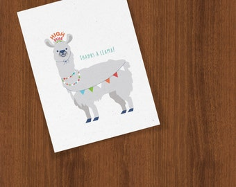 Thanks A Llama Thank You Folded Cards