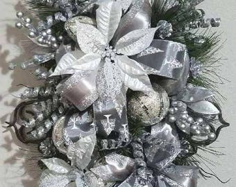 Elegant Christmas Silver & Gray Poinsettia Teardrop Door Swag, Mantel Table Christmas Decor, Wall Arrangement