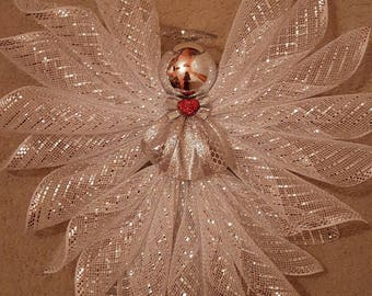 White w/Silver Deco Mesh Angel-LARGE