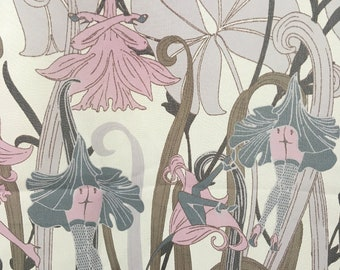 Length of Vintage French Naughty Novelty Art Nouveau Style Flowers and Legs Yardage Fabric