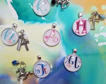 Custom Monogram watercolor necklace