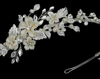 swarovski crystal wedding headband, wedding hair piece, bridal crystal ivory headband, wedding headband, wedding headpiece