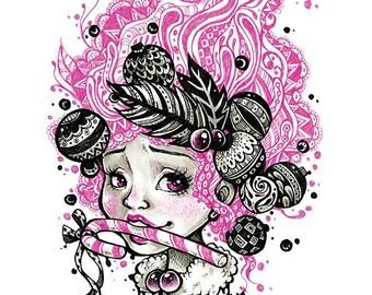 Pink Candy Cane- Premium Art Print- AKI ART- Archival