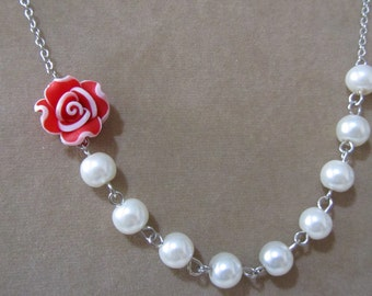 Red rose necklace with pearls - Pearl necklace - Bridal necklace - Flower girls necklace