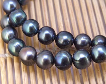 """One Full Strand--- Luster Black Pearl Pure Freshwater Pearl----8-9mm or 10-11mm----16"""""""