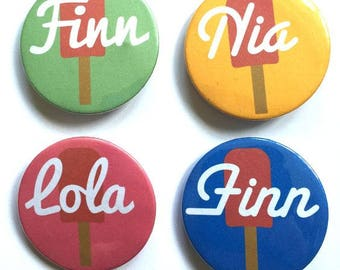 Personalised Lollipop Badges. Summer. Ice Cream. Party. Personalised. Custom.
