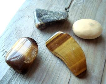 Tiger Eye, Rhodonite and Mooakite Stone and Bead Mixture