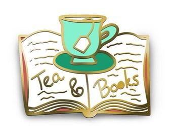 Tea And Books Enamel Lapel Pin