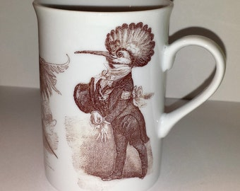 Mug Coffee Cup Grandville Dressed Birds White and Sepia Porcelain Handmade Fired on design