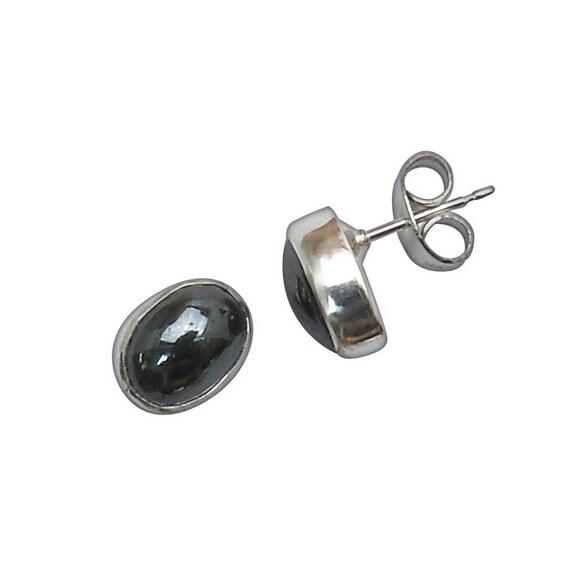 Hematite and Sterling Silver Post Earrings  ehemc2943