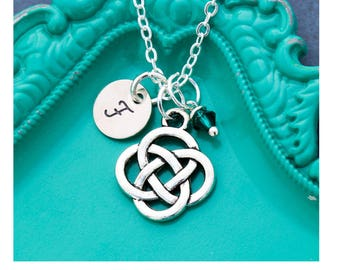 Celtic Knot Necklace Celtic Gift Knot Charm Small • Friend Gift Sister Friend Necklace Friendship Necklace Initial Small Handstamped