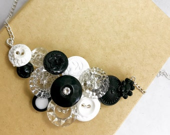 Vintage Black, White and Glass Button Necklace