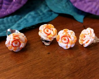 Orange and White flower charm earrings - resin cabochons - post or clip on available - girls jewelry accessories