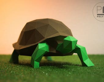 Turtle (paper turtle, origami turtle, papercraft, lowpoly, DIY template, PDF)
