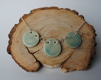 Handcrafted Ceramic Necklace   Glacier Rounds & Silver Chain Necklace