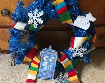 Handmade Doctor Who Tardis Blue Holiday Christmas Wreath