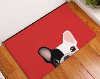 Black & white pug frenchc bulldog red anti slip floor rug mat
