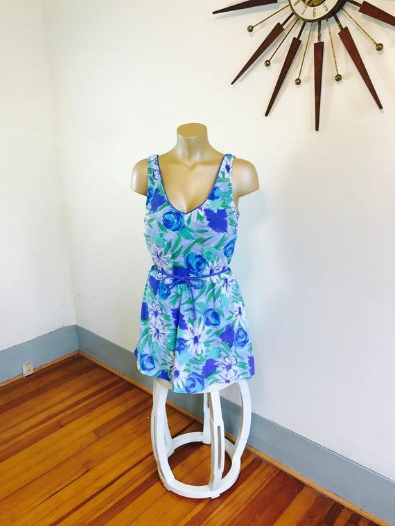 Plus Size Swimsuit, 70s Onepiece, Sea Wave swimsuit, 70s Bathing Suit, Floral one piece, Skirted swimsuit, Plus Size swimwear, Sz 20 22 3XL