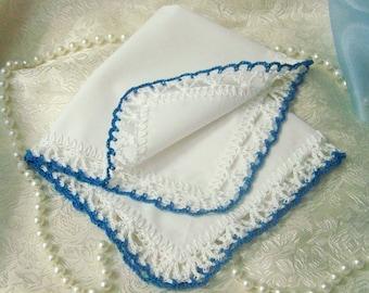 Blaue Spitzentaschentuch, häkeln Hanky, Spitze Taschentuch, Damen Geschenk, Hochzeitsfest-Geschenk, gehäkelten, individuell bestickt, bereit zu versenden