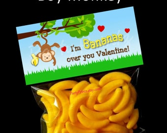 INSTANT DOWNLOAD - Printable Treat Bag Toppers  - Bananas over you  Valentine