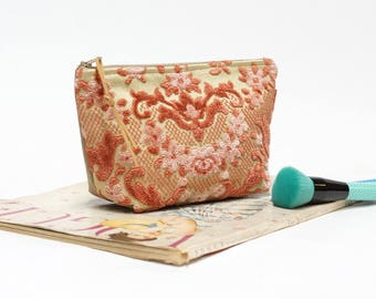 Cut Velvet Pouch, Pink Cosmetic Bag, Large Makeup Bag, Floral Tapestry bag Handmade by EllaOsix