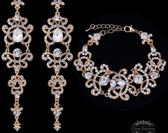 Wedding jewelry set, Bridal jewelry set Gold plated zircon crystal earrings, Vintage inspired Bridal earrings, Bridal bracelet, gold jewelry