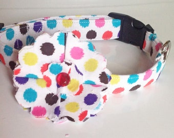 Colorful Polka Dot Flower Collar for Girl Dogs and Cats