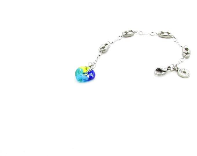 Bracelet / verre fusion / étain / épingles / Métiers d'art / accessoires mode / LapareBijoux