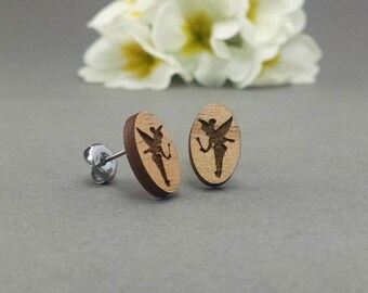 Disney Tinker Bell Earrings - Laser Engraved Wood Earrings - Hypoallergenic Titanium Post Earring Pair