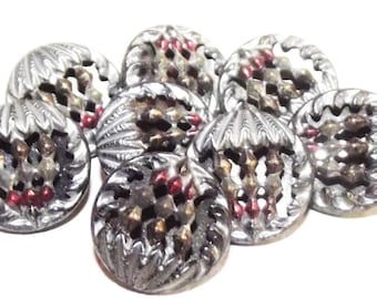 Antique Buttons ~ Metal Button Set ~ Lovely Twinkle Back Buttons ~ Tinted Buttons Set of 8