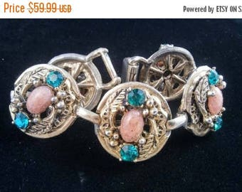 ON SALE Vintage Pink & Green Bracelet - Retro Chunky Wide Rhinestone Jewelry - Mid Century 1950's High End Hard To Find Rare Jewelry