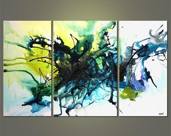 """Blue Green Original Contemporary Abstract Acrylic Painting on Canvas by Osnat - MADE-TO-ORDER - 60""""x36"""""""