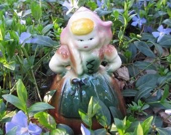 Vintage Dutch Girl Figurine Planter
