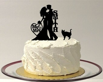 MADE In USA, Personalized Wedding Cake Topper + Cat, Silhouette Wedding Cake Topper with pet Cat, Custom Wedding Cake Topper, Cake Topper